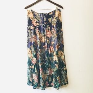 • vintage button-front floral maxi skirt •